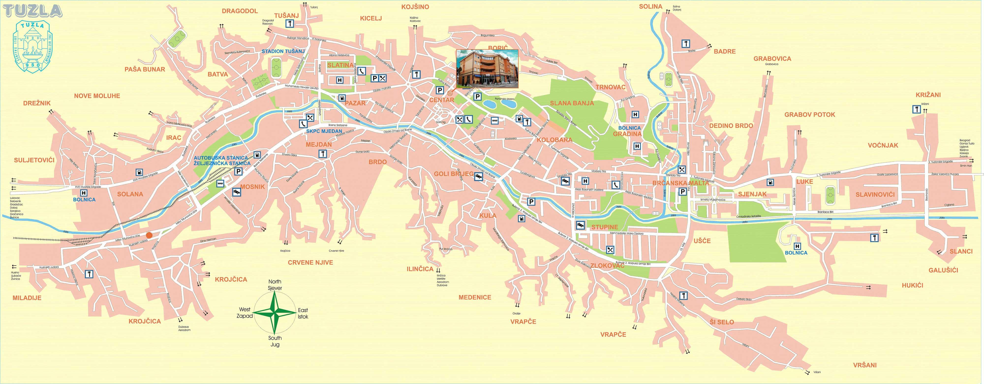 tuzla mapa ADVOKAT Alma PRNJAVORAC | Mapa Tuzle | Advokatska kancelarija tuzla mapa